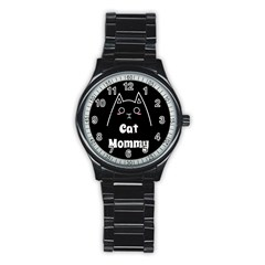 Love My Cat Mommy Stainless Steel Round Watch by Catifornia