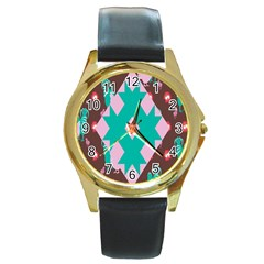 Animals Rooster Hens Chicks Chickens Plaid Star Flower Floral Sunflower Round Gold Metal Watch by Mariart