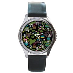 Wreaths Flower Floral Leaf Rose Sunflower Green Yellow Black Round Metal Watch by Mariart