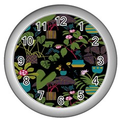 Wreaths Flower Floral Leaf Rose Sunflower Green Yellow Black Wall Clocks (silver)