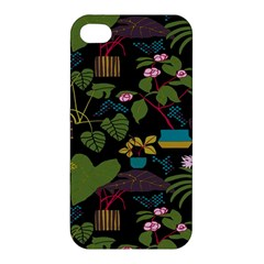 Wreaths Flower Floral Leaf Rose Sunflower Green Yellow Black Apple Iphone 4/4s Premium Hardshell Case by Mariart