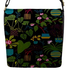 Wreaths Flower Floral Leaf Rose Sunflower Green Yellow Black Flap Messenger Bag (s) by Mariart