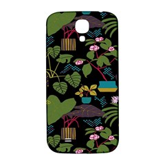 Wreaths Flower Floral Leaf Rose Sunflower Green Yellow Black Samsung Galaxy S4 I9500/i9505  Hardshell Back Case by Mariart
