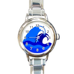 Blue Beach Sea Wave Waves Chevron Water Round Italian Charm Watch by Mariart
