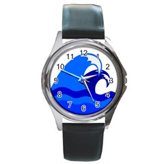 Blue Beach Sea Wave Waves Chevron Water Round Metal Watch by Mariart