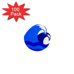 Blue Beach Sea Wave Waves Chevron Water 1  Mini Magnets (100 Pack)