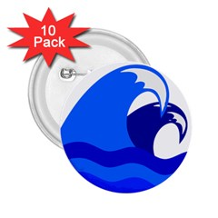 Blue Beach Sea Wave Waves Chevron Water 2 25  Buttons (10 Pack)