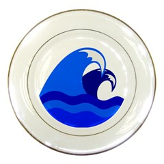 Blue Beach Sea Wave Waves Chevron Water Porcelain Plates by Mariart