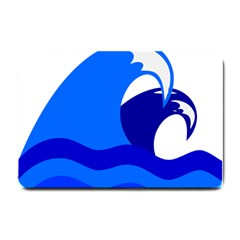 Blue Beach Sea Wave Waves Chevron Water Small Doormat  by Mariart
