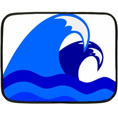 Blue Beach Sea Wave Waves Chevron Water Fleece Blanket (mini) by Mariart