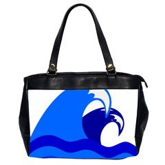 Blue Beach Sea Wave Waves Chevron Water Office Handbags (2 Sides)  by Mariart
