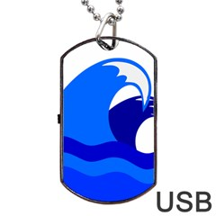 Blue Beach Sea Wave Waves Chevron Water Dog Tag Usb Flash (two Sides)