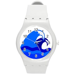Blue Beach Sea Wave Waves Chevron Water Round Plastic Sport Watch (m) by Mariart