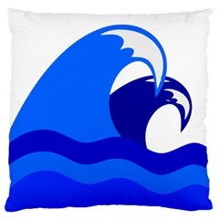 Blue Beach Sea Wave Waves Chevron Water Large Cushion Case (two Sides) by Mariart
