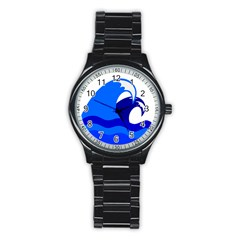 Blue Beach Sea Wave Waves Chevron Water Stainless Steel Round Watch by Mariart