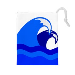 Blue Beach Sea Wave Waves Chevron Water Drawstring Pouches (large)  by Mariart