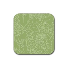 Blender Greenery Leaf Green Rubber Square Coaster (4 Pack)  by Mariart