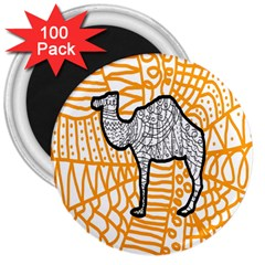 Animals Camel Animals Deserts Yellow 3  Magnets (100 Pack) by Mariart