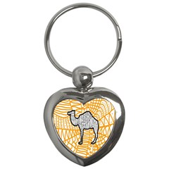 Animals Camel Animals Deserts Yellow Key Chains (heart)  by Mariart