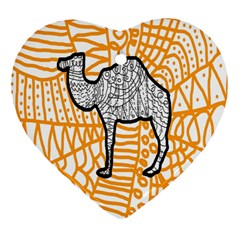 Animals Camel Animals Deserts Yellow Heart Ornament (two Sides) by Mariart
