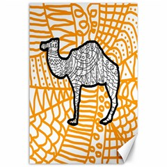 Animals Camel Animals Deserts Yellow Canvas 24  X 36  by Mariart