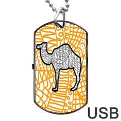 Animals Camel Animals Deserts Yellow Dog Tag Usb Flash (one Side) by Mariart