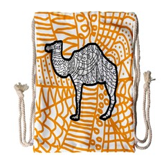 Animals Camel Animals Deserts Yellow Drawstring Bag (large) by Mariart
