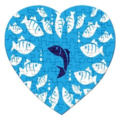 Blue Fish Tuna Sea Beach Swim White Predator Water Jigsaw Puzzle (heart) by Mariart