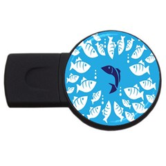 Blue Fish Tuna Sea Beach Swim White Predator Water Usb Flash Drive Round (4 Gb) by Mariart