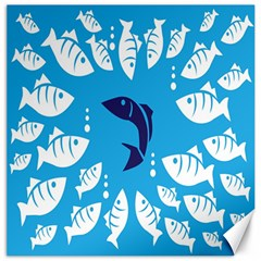 Blue Fish Tuna Sea Beach Swim White Predator Water Canvas 16  X 16   by Mariart