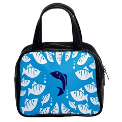 Blue Fish Tuna Sea Beach Swim White Predator Water Classic Handbags (2 Sides) by Mariart