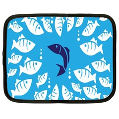 Blue Fish Tuna Sea Beach Swim White Predator Water Netbook Case (xxl)  by Mariart