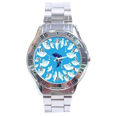 Blue Fish Tuna Sea Beach Swim White Predator Water Stainless Steel Analogue Watch by Mariart