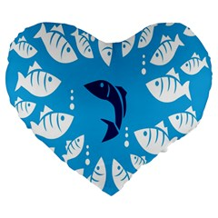 Blue Fish Tuna Sea Beach Swim White Predator Water Large 19  Premium Heart Shape Cushions by Mariart