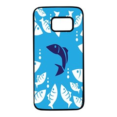 Blue Fish Tuna Sea Beach Swim White Predator Water Samsung Galaxy S7 Black Seamless Case by Mariart