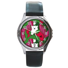 Animals White Bear Flower Floral Red Green Round Metal Watch by Mariart