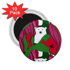 Animals White Bear Flower Floral Red Green 2 25  Magnets (10 Pack)  by Mariart