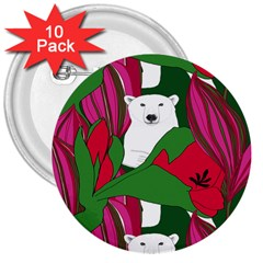 Animals White Bear Flower Floral Red Green 3  Buttons (10 Pack)  by Mariart