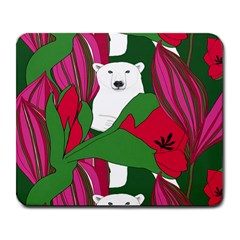 Animals White Bear Flower Floral Red Green Large Mousepads by Mariart