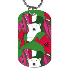 Animals White Bear Flower Floral Red Green Dog Tag (two Sides) by Mariart