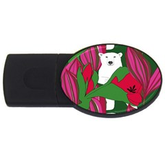 Animals White Bear Flower Floral Red Green Usb Flash Drive Oval (2 Gb)