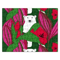 Animals White Bear Flower Floral Red Green Rectangular Jigsaw Puzzl by Mariart