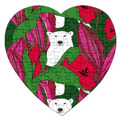 Animals White Bear Flower Floral Red Green Jigsaw Puzzle (heart) by Mariart