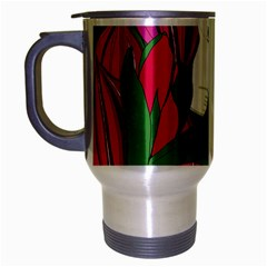 Animals White Bear Flower Floral Red Green Travel Mug (silver Gray) by Mariart