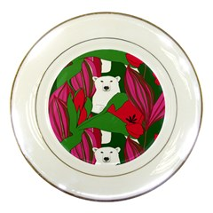 Animals White Bear Flower Floral Red Green Porcelain Plates