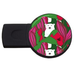 Animals White Bear Flower Floral Red Green Usb Flash Drive Round (4 Gb) by Mariart