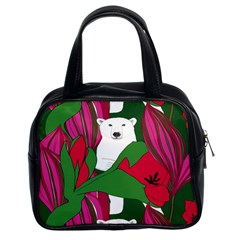 Animals White Bear Flower Floral Red Green Classic Handbags (2 Sides)