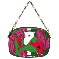 Animals White Bear Flower Floral Red Green Chain Purses (two Sides)  by Mariart