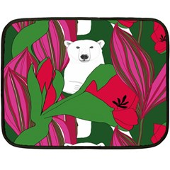 Animals White Bear Flower Floral Red Green Double Sided Fleece Blanket (mini)  by Mariart
