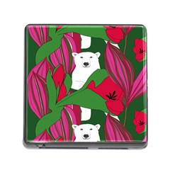 Animals White Bear Flower Floral Red Green Memory Card Reader (square) by Mariart